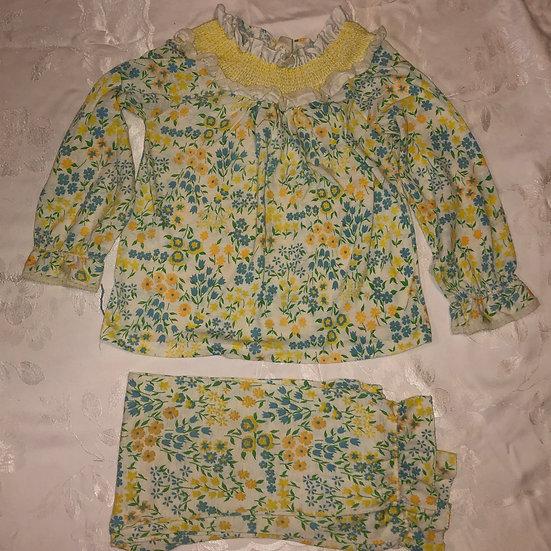 White Yellow Blue Flower PJ set