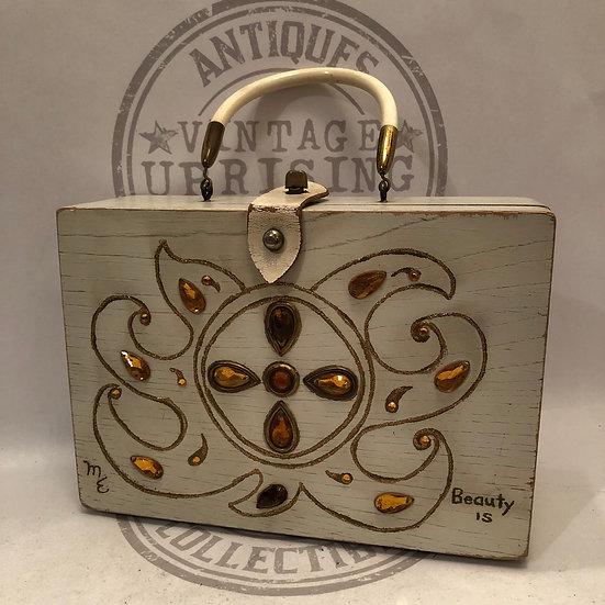 Vintage 70s Wooden Box Purse Faux Rhinestones Enid Collins Style Top Handle Boho
