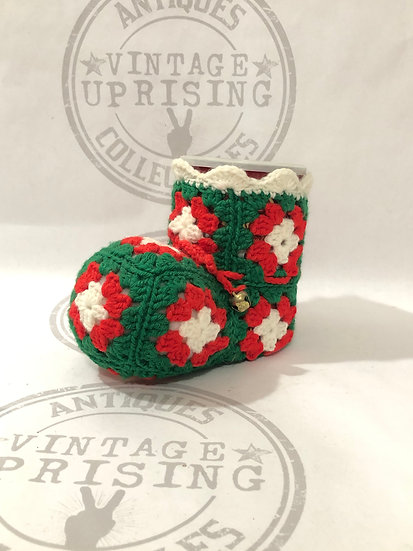 Crochet Boot Can - Candy Container - Christmas Decoration