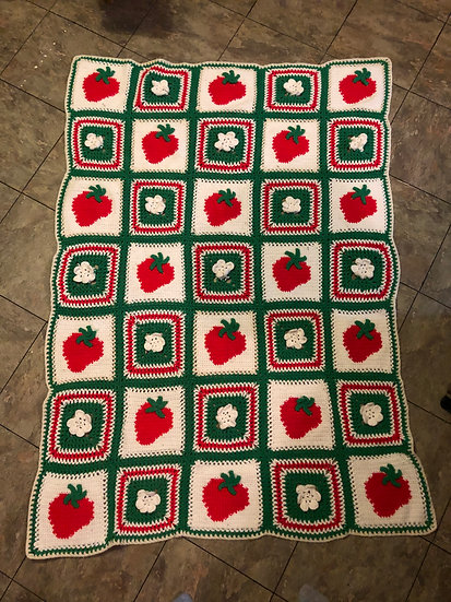 Vintage Crochet Strawberry Blossom Motif Afghan Strawberry Berries Flower Granny