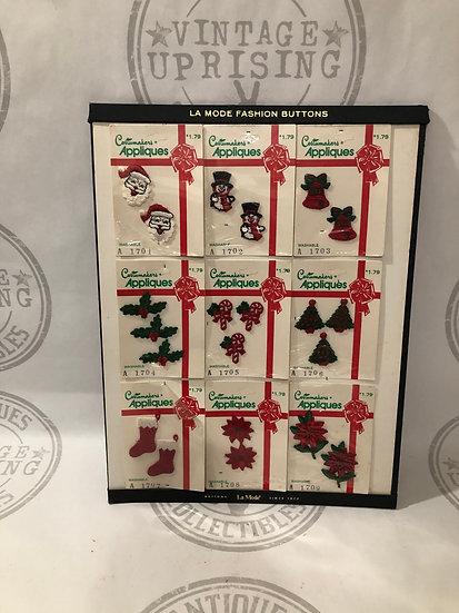 Vintage Christmas Holiday Applique Patches - La Mode Button