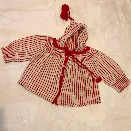 Red & White Striped Sweater Hoodie
