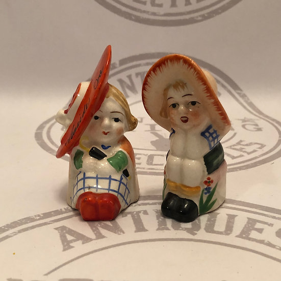 Two Vintage Girls with Big Hat Sitting Salt and Pepper Shakers