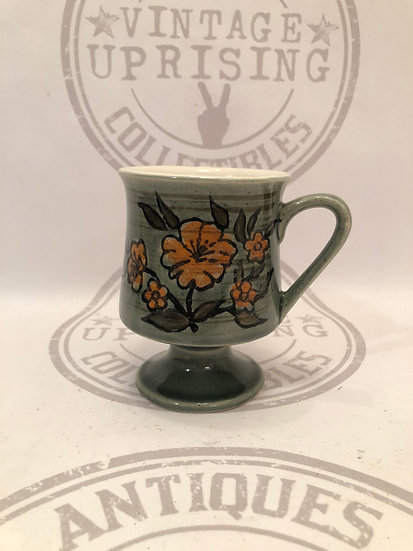 Vintage Coffee Mug Green with Orange Flowers