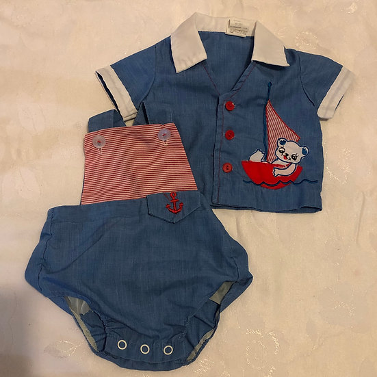 2 pc Blue Outfit Bear in Boat 3 mon