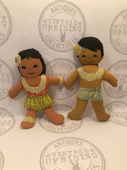 Vintage Hawaiian plush pillow dolls by C & H sugar, Hawaiian huggables
