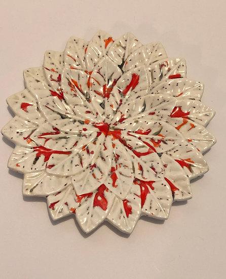 Vintage ceramic leaf plate saucer white with splatter orange