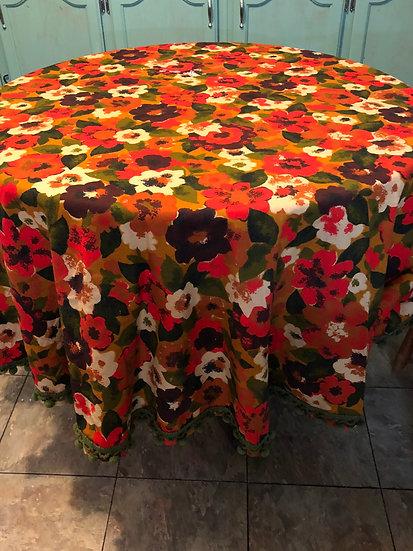 Vintage Round MCM  Floral Tablecloth