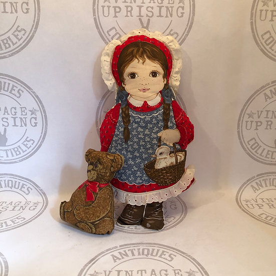 Vintage Girl and Bear Plush Pillow Vintage Pillow Doll, Stuffed Pillow Doll, Clo