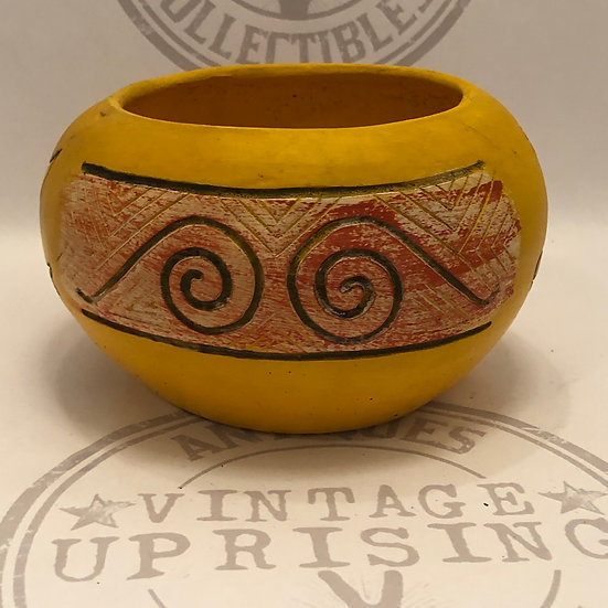 Folk Art Gourd Pottery Bowl Hand Crafted