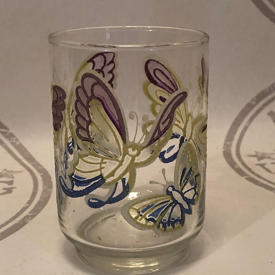 Libbey Butterfly Drinking Glass Tumblers set of 9