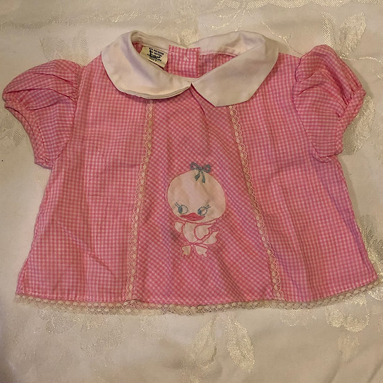 Pink Gingham Top w/ Chick Applique