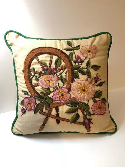 Vintage crewel needlepoint Spinning Wheel w/ flowers design throw pillow