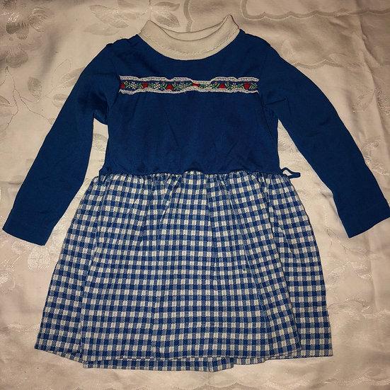 Checker Blue & White Long Sleeve Dress