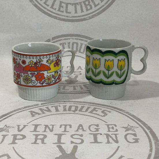 Mid-Century Bright Color Coffee Mug - heart handle stacking mugs mod mid century