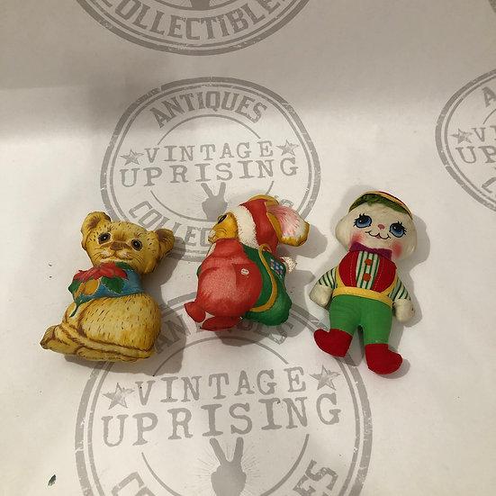 Vintage Fabric Plush Ornament - Christmas Ornaments - Lot of 3