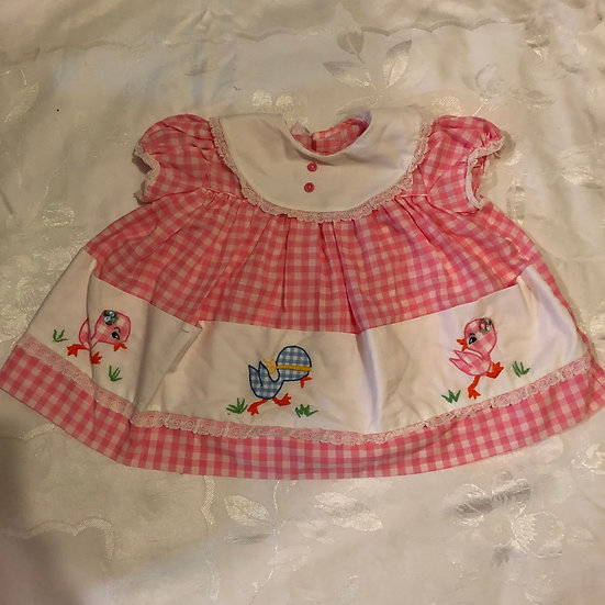 Pink & White Gingham Duck Dress