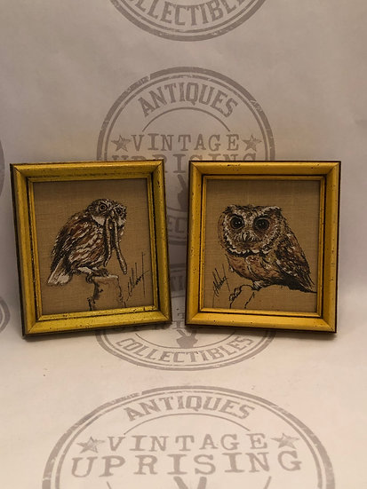 Vintage Yellow Wood Framed Hoot Owls Pictures, Owls Pictures Prints, 70's Owl Wa