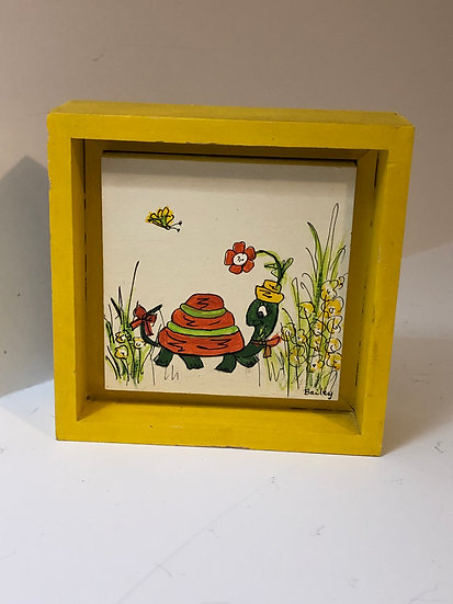 Kitschy Turtle Cartoon Retro Painting on wood by Bailey