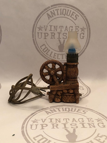 Vintage Spinning Wheel Electric Table Lamp