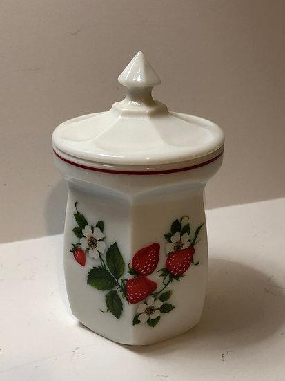 "Westmoreland Strawberry WHITE MILK  Glass *5 1/2"" Condiment Jar Marmalade Jar"