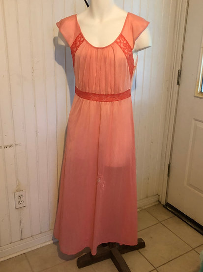 Vintage long night gown. Pink nylon fabric. No tag, small-med size