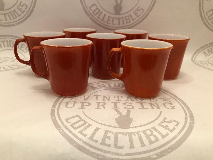 Pyrex coffee cups burnt orange and Corning burnt orange Sienna Coffee Mugs - mil