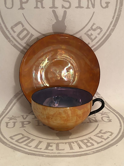 Lusterware teacup and saucer made in Japan blue and orange vintage cup