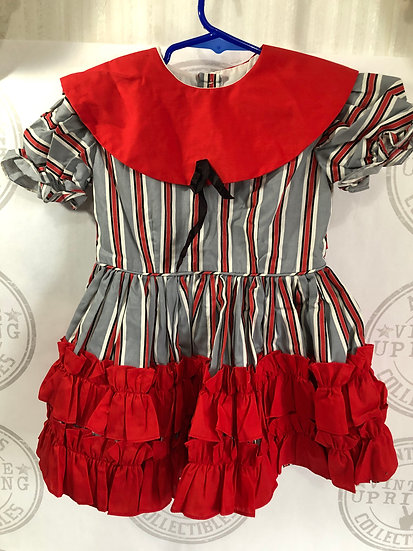 Grey Black Red Strip Ruffle Dress