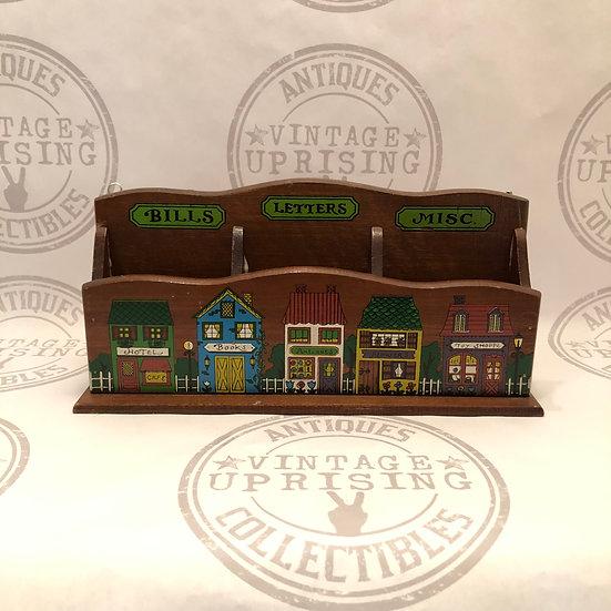 Vintage Wooden Letter Holder, 3 Pockets Wall Organizer or Desk Storage for Lette