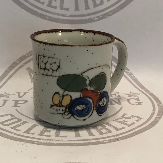 Vintage Speckled Stoneware with a Car  Coffee Mug/Cup