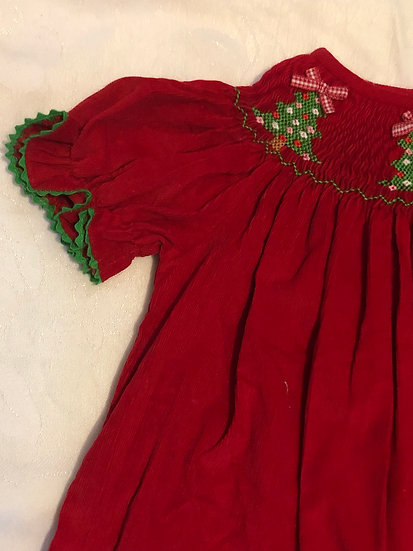 Red Corduroy Christmas Dress 18 m