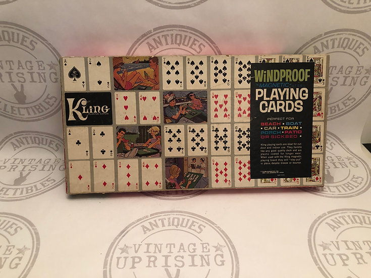 Vintage Kling Magnetic Playing Cards & Game Board Windproof