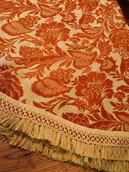 """GORGEOUS Bates Vintage Floral Fringe 90"""" Round Tablecloth In Orange/Yellow or go"""