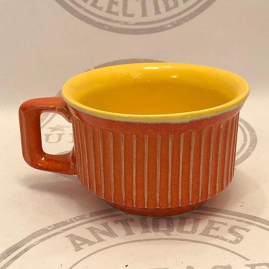 McCoy Large Ribbed Mug Bright Orange and Yellow McCoy Mug / Soup Mug
