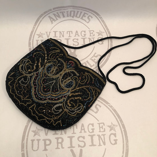 Carla Marchi Evening Shoulder Black Satin Beaded Crossbody Bag