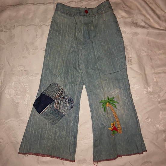 Bell Bottoms Jean Pants -Patchwork and Embroidery
