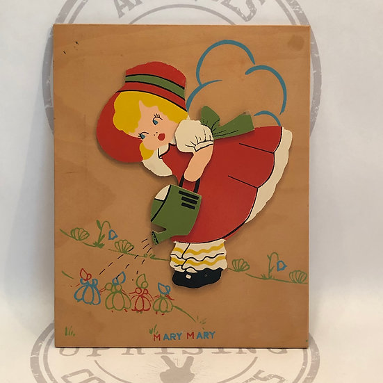 Wooden Plaque With a Little Girl Mary Mary Nursery Rhyme, Hand Painted 3D