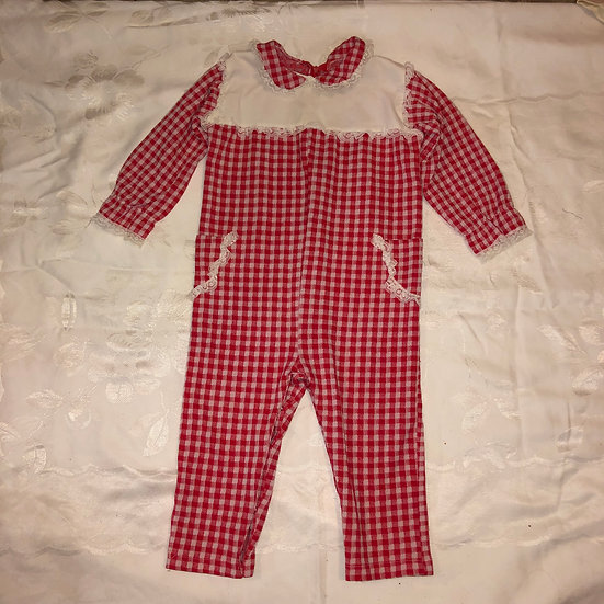 Red & White Gingham Onesie