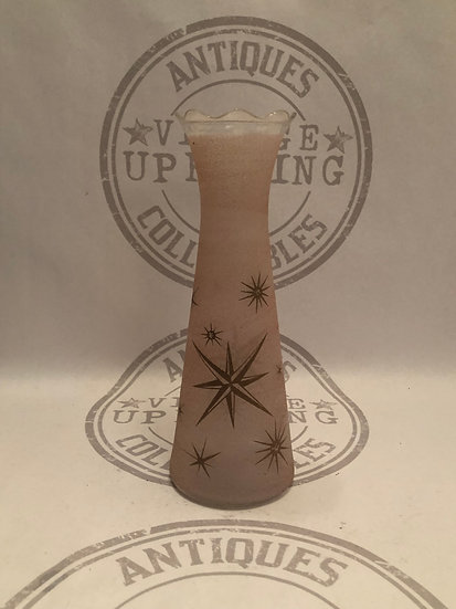 Atomic Starburst Vase, Mid century Vase, Sugar Frosted Vase, Vintage Pink Vase,