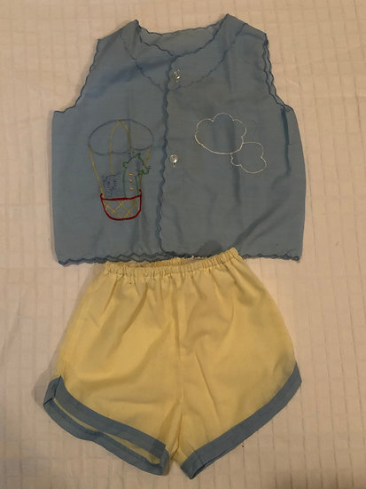 2pc blue and yellow short set