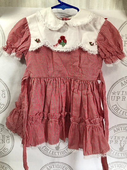 Red & White Checker Ruffle Dress w/ Bells