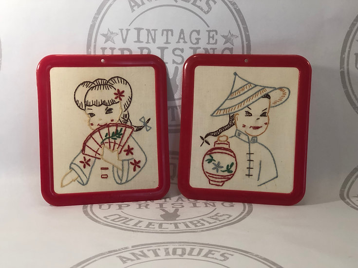 Vintage 1960's Stitch a Story Needle Point / Embroidery / Plastic Frame / Childr