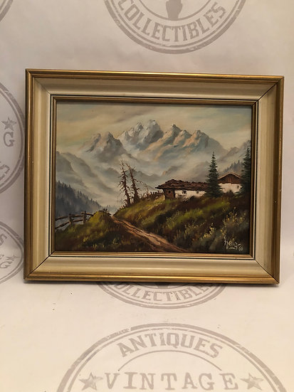 Beautiful Signed Landscape scene Painting Mountain Cottage