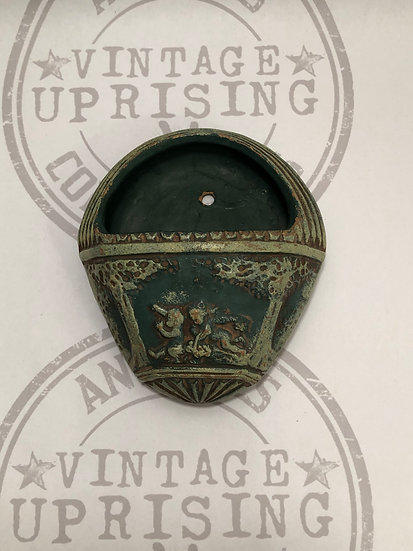 Vtg Green Pottery Wall Pocket