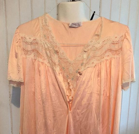Vintage 2 pc Pink Vanity Fair Med short night gown