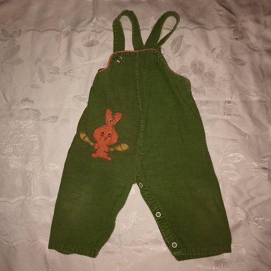 Green Corduroy Overalls w/ Rabbit Applique