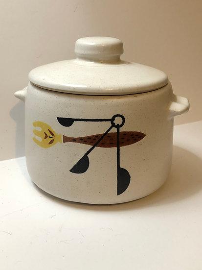 Vintage West Bend soup crock stoneware dish, bean pot, canister, cookie, flour