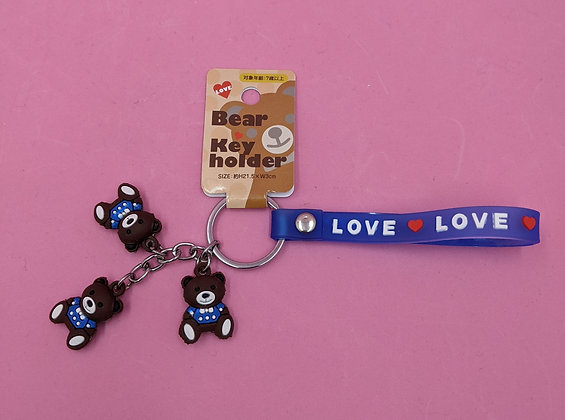 3 BEARS KEY RING - BLUE