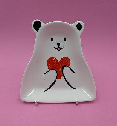 BEAR HEART CERAMIC TRINKET PLATE
